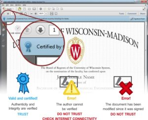 Screenshot showing a CeDiploma digital signature in Adobe Acrobat