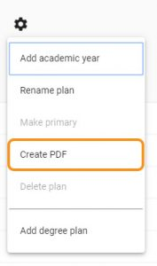 settings wheel Create PDF