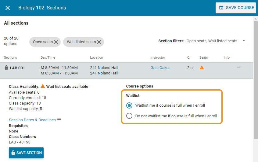Location of waitlist options in sections view