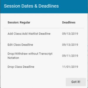 Session Dates and Deadlines pop-up