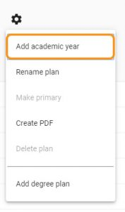 settings wheel add academic year