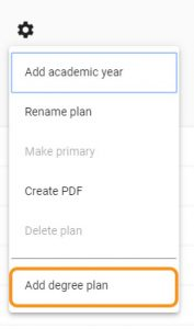 add degree plan using settings wheel